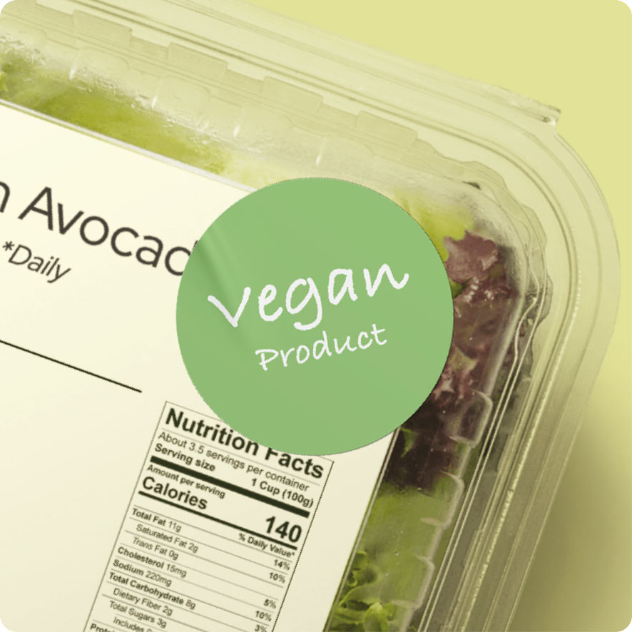 Sticker 'Vegan Product' lichtgroen rond 30mm salade verpakking