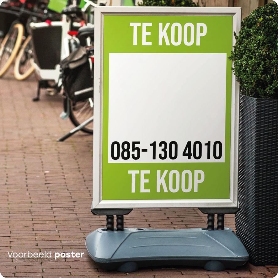 Voorbeeld gepersonaliseerde 'Te Koop' poster lichtgroen stoepbord