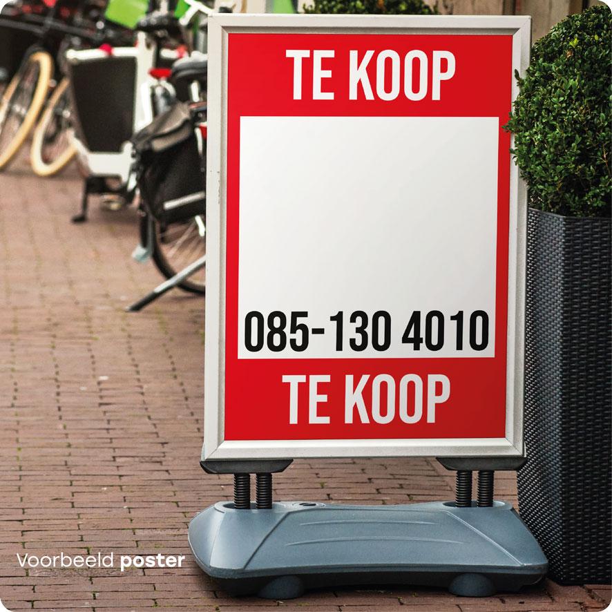 Voorbeeld gepersonaliseerde 'Te Koop' poster rood stoepbord