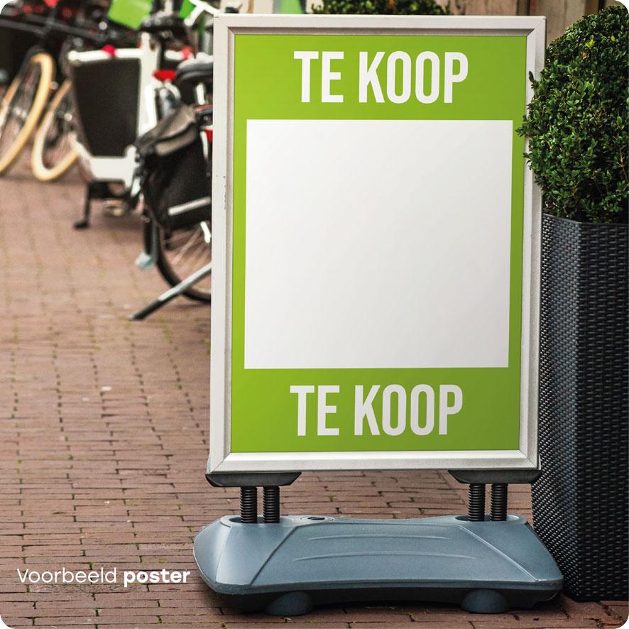 Voorbeeld 'Te Koop' poster lichtgroen stoepbord