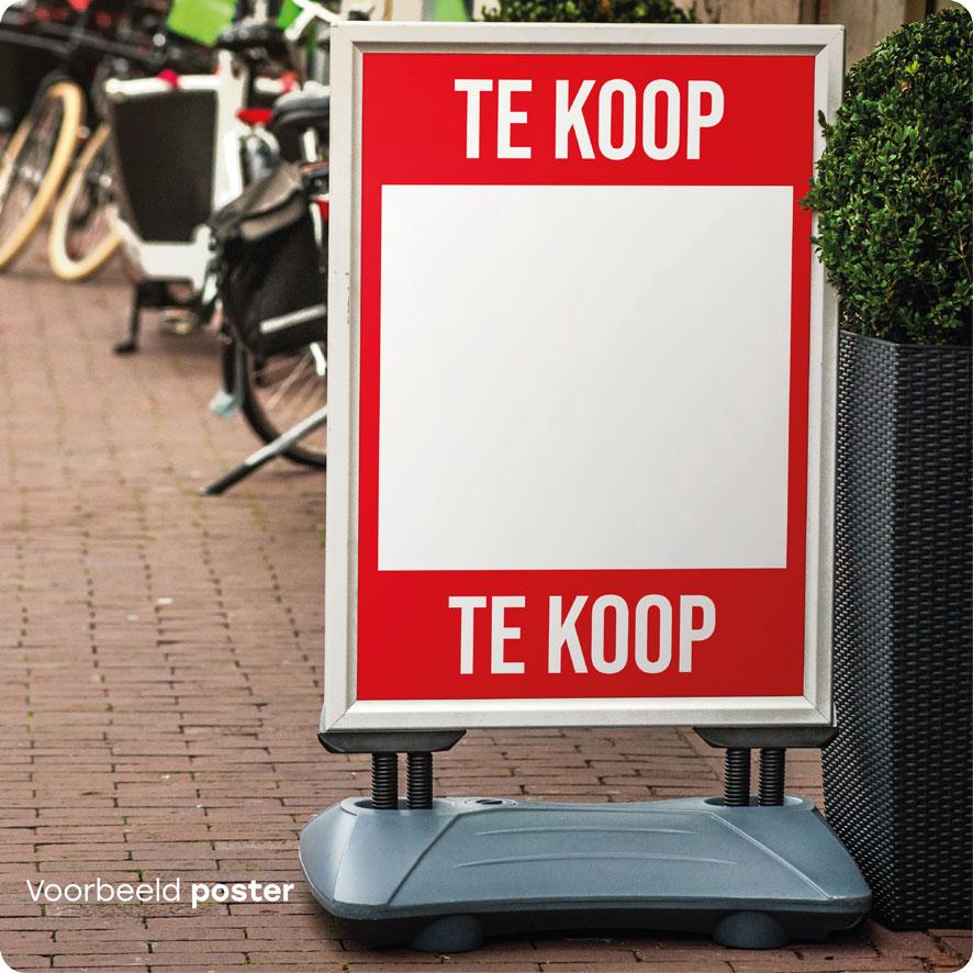 Voorbeeld 'Te Koop' poster rood stoepbord