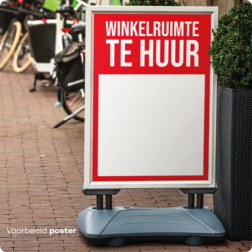 Voorbeeld 'Winkelruimte Te Huur' poster rood stoepbord