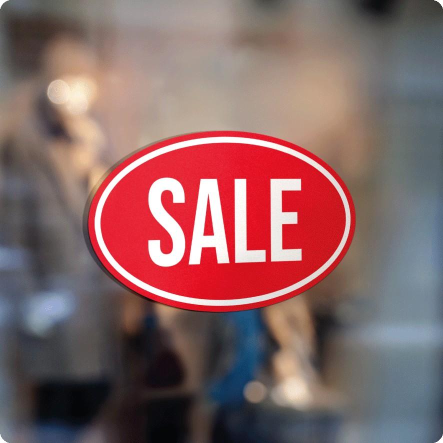Voorbeeld 'Sale' raamsticker