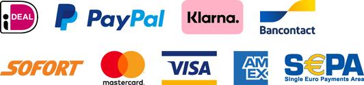Betaalwijzen: Ideal, PayPal, Klarna, Bancontact, Sofort, Mastercard, Visa, American Express, Sepa