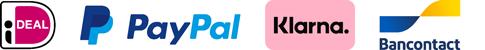 Betaalwijze's: iDEAL, PayPal, Klarna, Bancontact