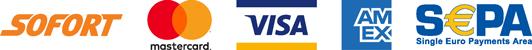 Betaalwijze's: Sofort, Mastercard, Visa, American Express, Sepa