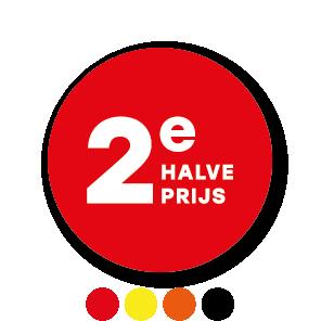 2e halve prijs stickers oranje-wit rond 30mm