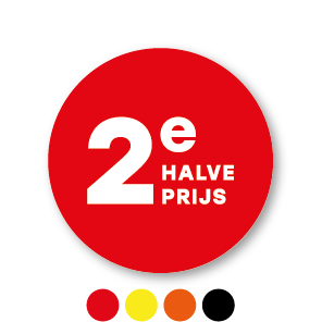 2e halve prijs stickers rood-wit rond 30mm