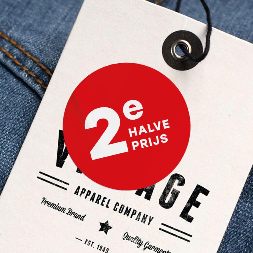2e halve prijs sticker rood rond 30mm kleding hangtag