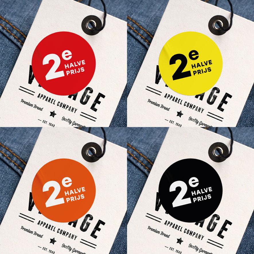 2e halve prijs stickers rood, geel, oranje, zwart rond 30mm kleding hangtag