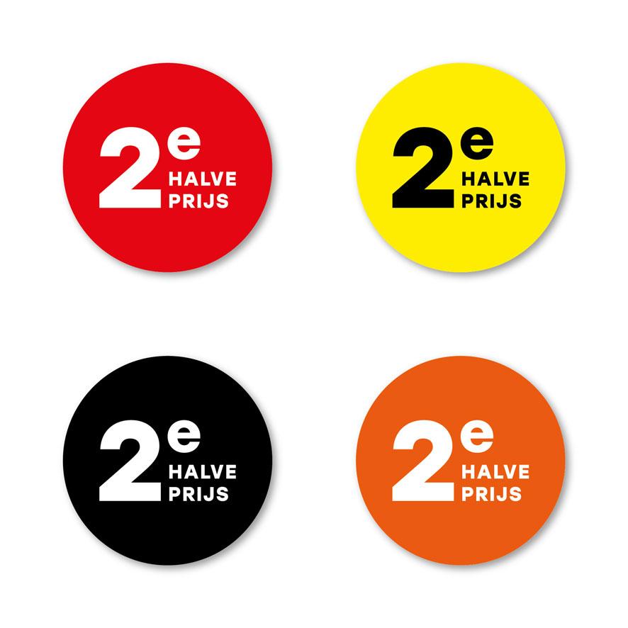 2e halve prijs stickers rood, geel, oranje, zwart rond 30mm witte achtergrond