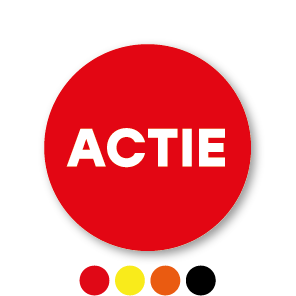 Actie stickers rood rond 30mm
