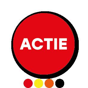 Actie stickers geel-zwart rond 30mm