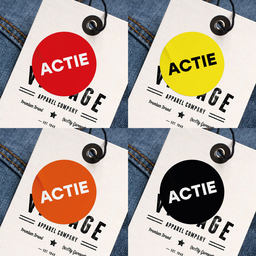 Actie stickers rood, geel, oranje, zwart rond 30mm kleding hangtag