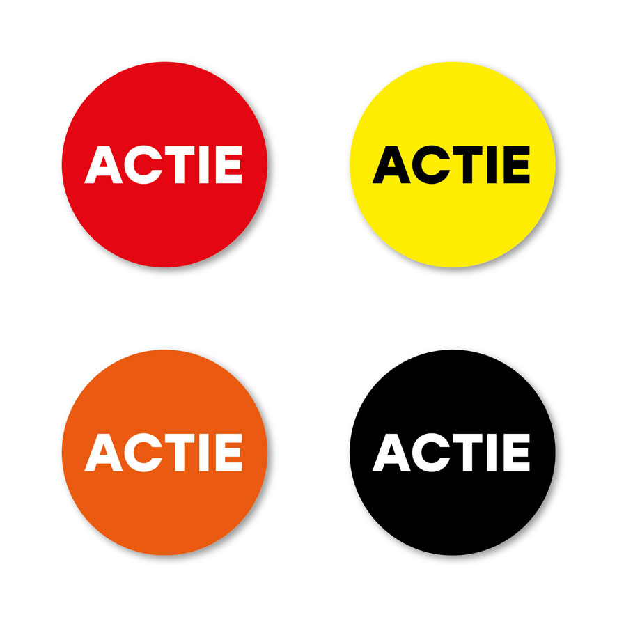 Actie stickers rood, geel, oranje, zwart rond 30mm witte achtergrond