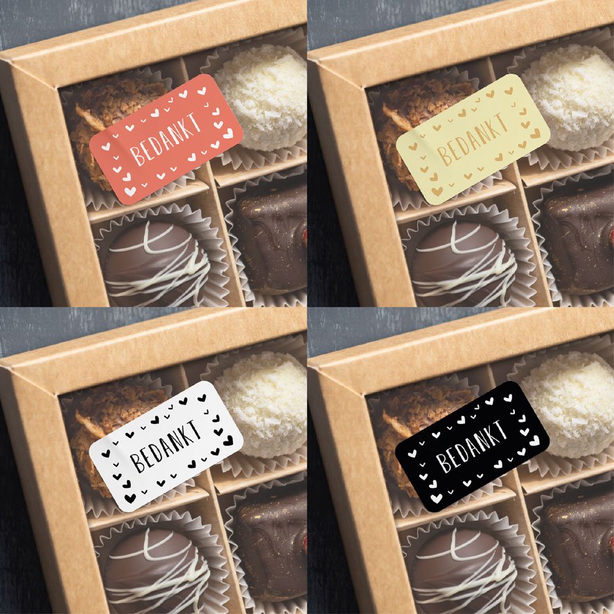 Voorbeeld bedankt sticker hartjes lichtrood-wit chocolade doos