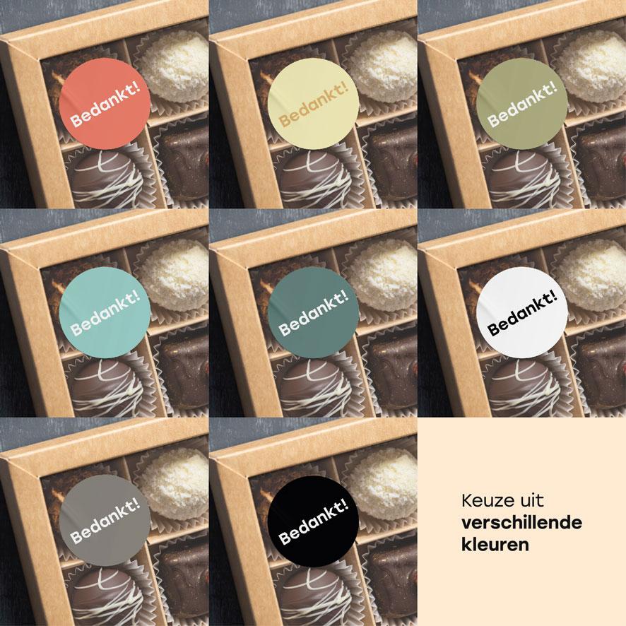 Bedankt stickers lichtrood, lichtgeel, kaki, mint, donkercyaan, donkergrijs, wit, zwart rond 30mm chocolade doos