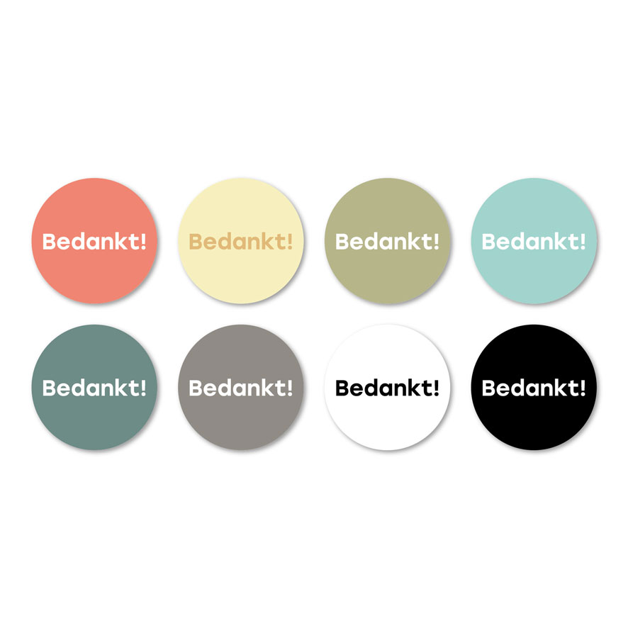 Bedankt stickers mint-wit rond 30mm