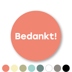 Bedankt stickers donkercyaan-wit rond 30mm