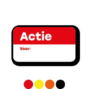 Beschrijfbare 'Actie' stickers zwart-wit rechthoek 38x21mm