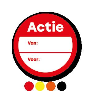 Beschrijfbare 'Actie' stickers rond 30mm