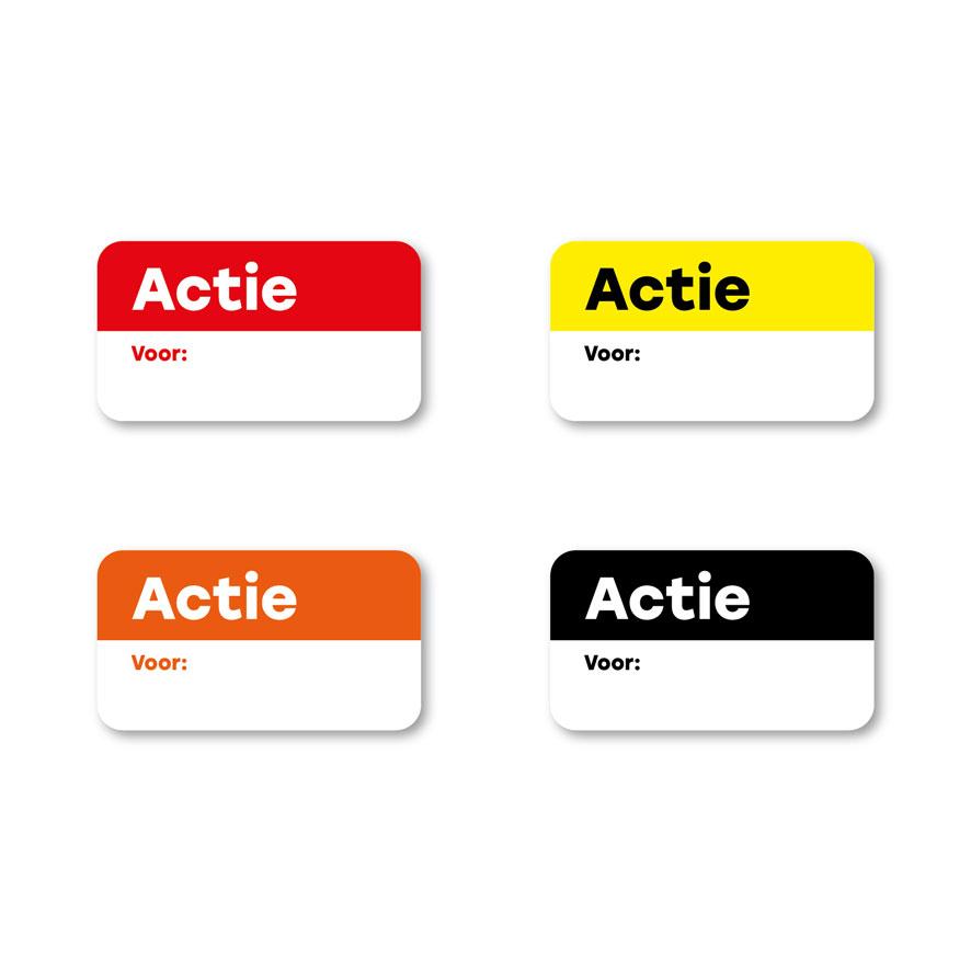 Beschrijfbare 'Actie' stickers rood, geel, oranje, zwart rechthoek 38x21mm witte achtergrond