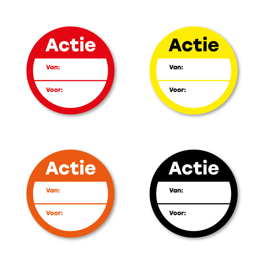 Beschrijfbare 'Actie' stickers rood, geel, oranje, zwart rond 30mm witte achtergrond