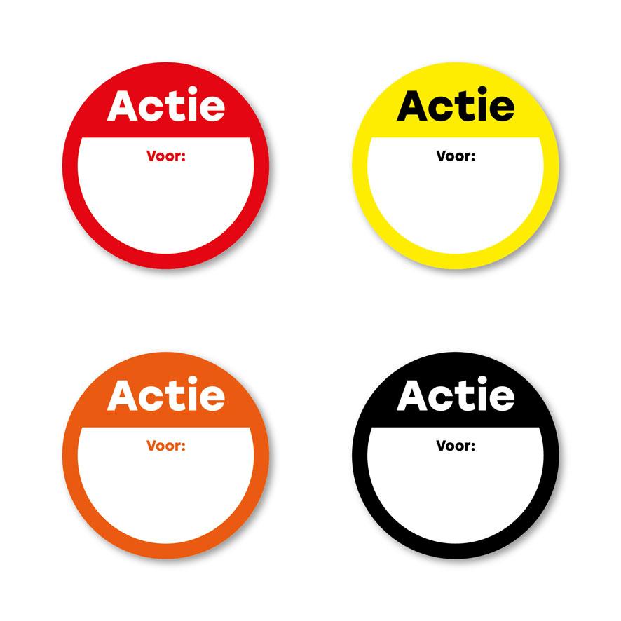 Beschrijfbare 'Actie' stickers oranje-wit rond 30mm
