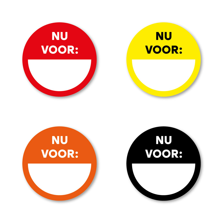 Beschrijfbare stickers 'Nu voor' rood, geel, oranje, zwart rond 30mm witte achtergrond