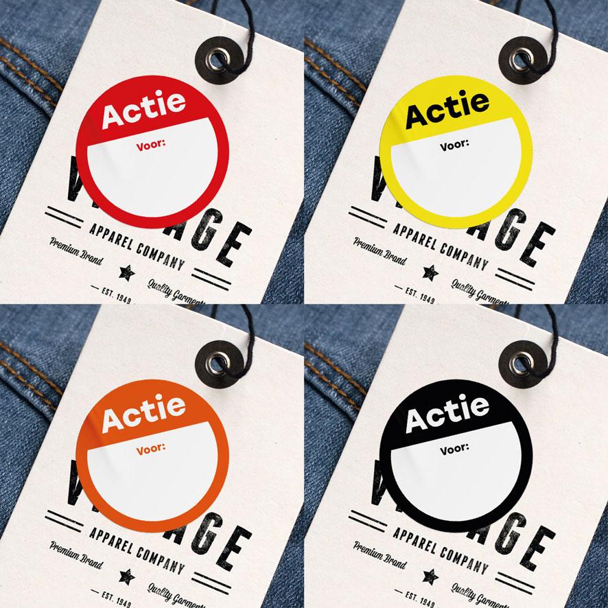 Beschrijfbare 'Actie' stickers rood, geel, oranje, zwart rond 30mm kleding hangtag