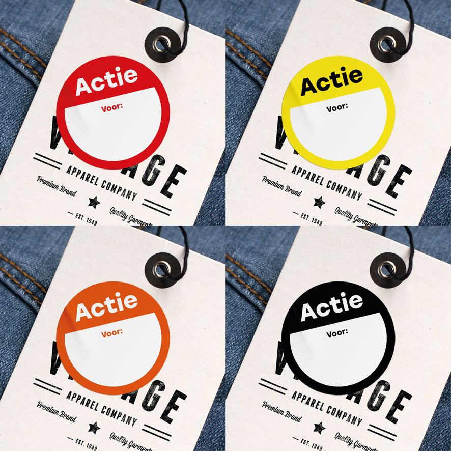 Beschrijfbare 'Actie' sticker oranje rond 30mm hangtag