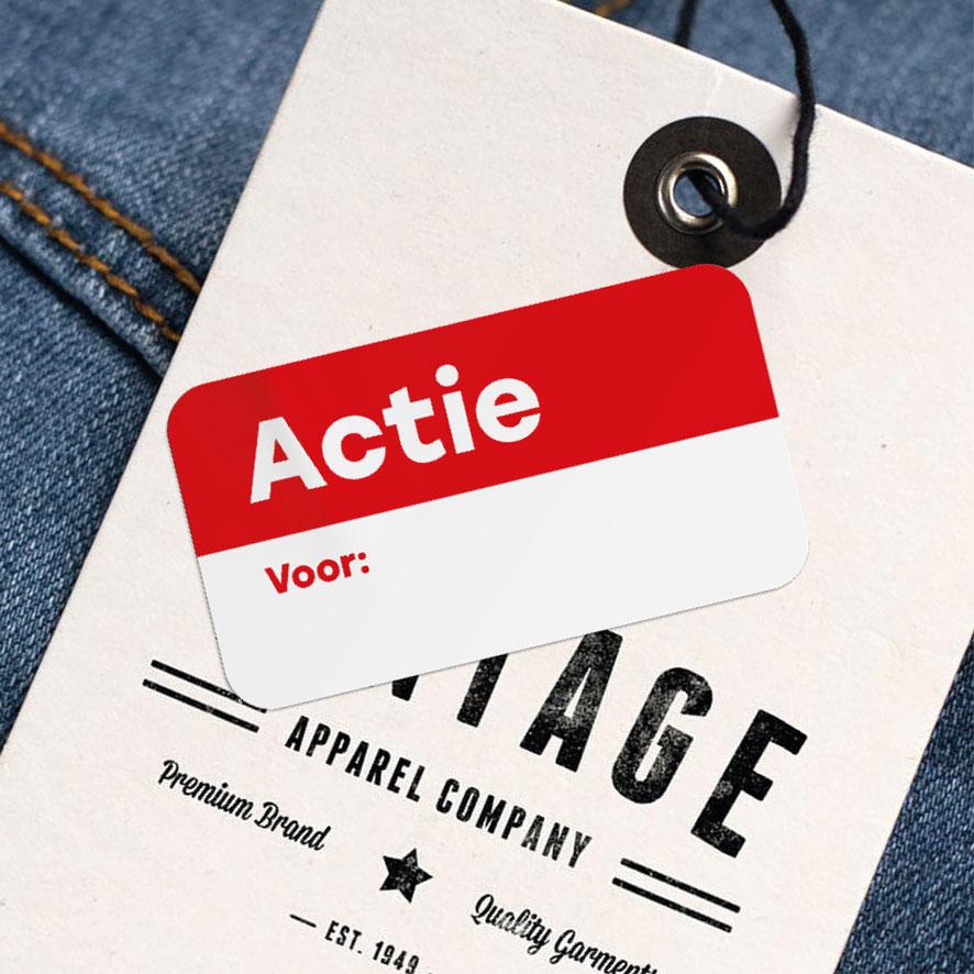 Beschrijfbare 'Actie' sticker rood rechthoek 38x21mm kleding hangtag