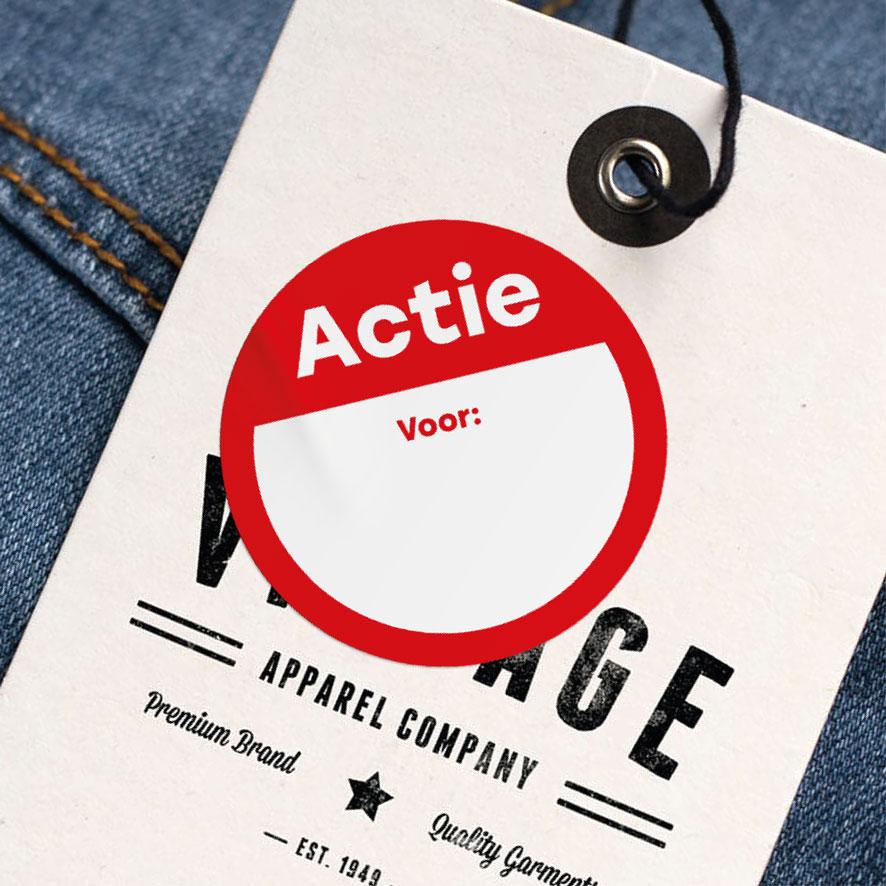 Beschrijfbare 'Actie' sticker rood rond 30mm kleding hangtag