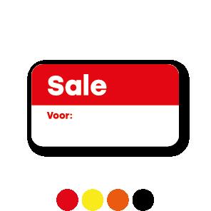 Beschrijfbare 'Sale' stickers oranje-wit rechthoek 38x21mm