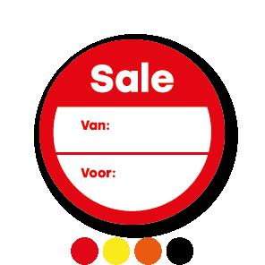 Beschrijfbare 'Sale' stickers oranje-wit rond 30mm