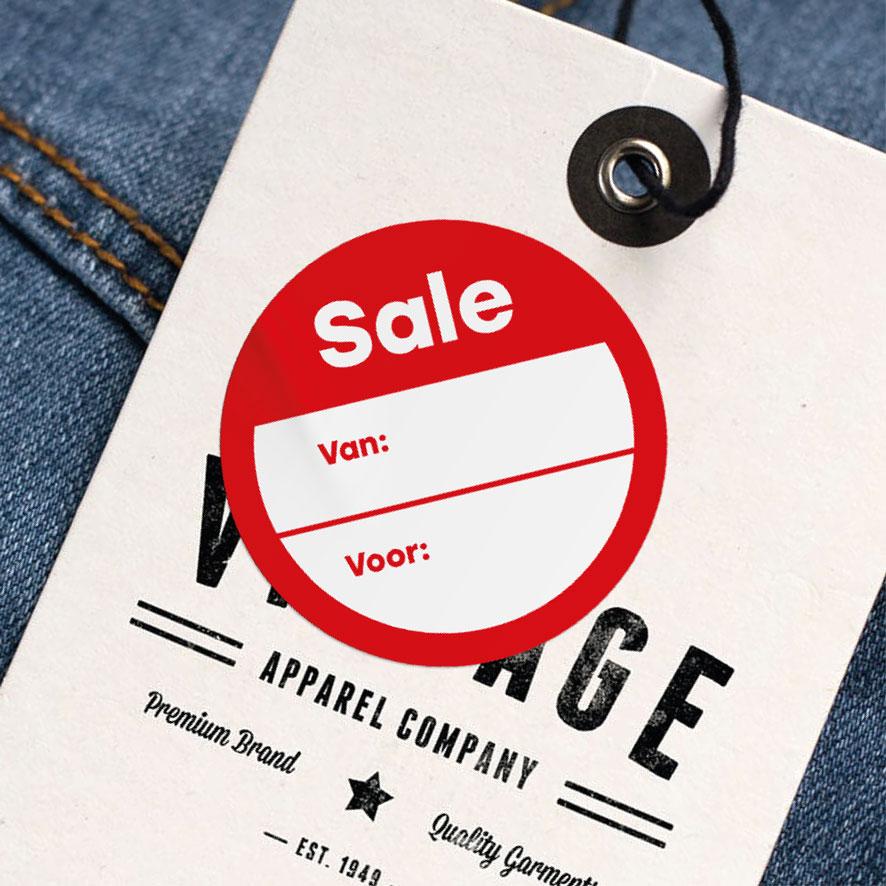 Beschrijfbare 'Sale' sticker rood rond 30mm kleding hangtag
