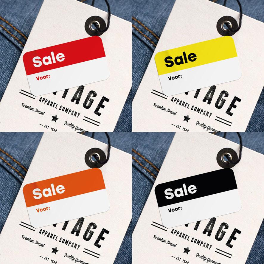 Beschrijfbare 'Sale' stickers rood, geel, oranje, zwart vierkant 38x21mm kleding hangtag
