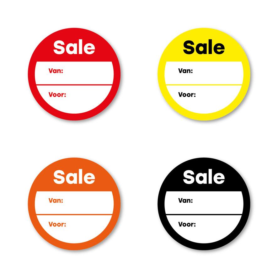 Beschrijfbare 'Sale' stickers rood, geel, oranje, zwart rond 30mm witte achtergrond