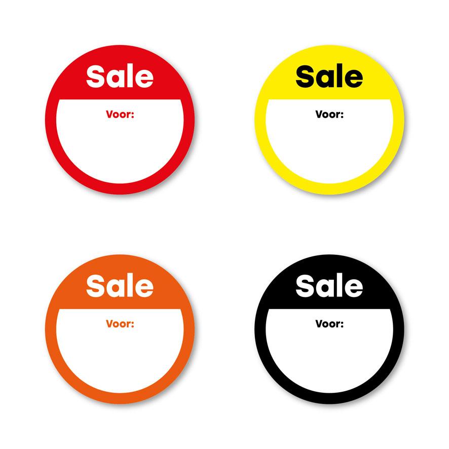 Beschrijfbare 'Sale' stickers geel-wit-zwart rond 30mm