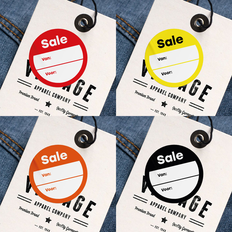 Beschrijfbare 'Sale' stickers rood, geel, oranje, zwart rond 30mm kleding hangtag