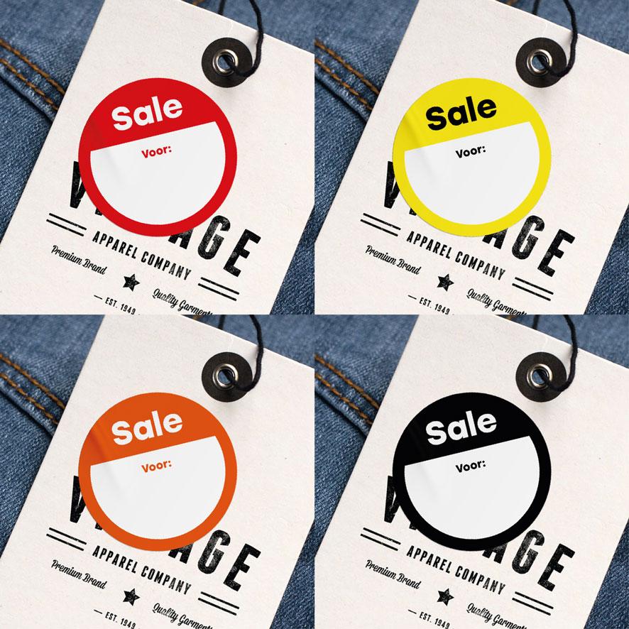 Beschrijfbare 'Sale' sticker geel rond 30mm hangtag