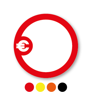 Beschrijfbare stickers 'Euroteken' oranje-wit rond 30mm