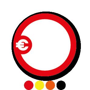 Beschrijfbare stickers 'Euroteken' rood-wit rond 30mm