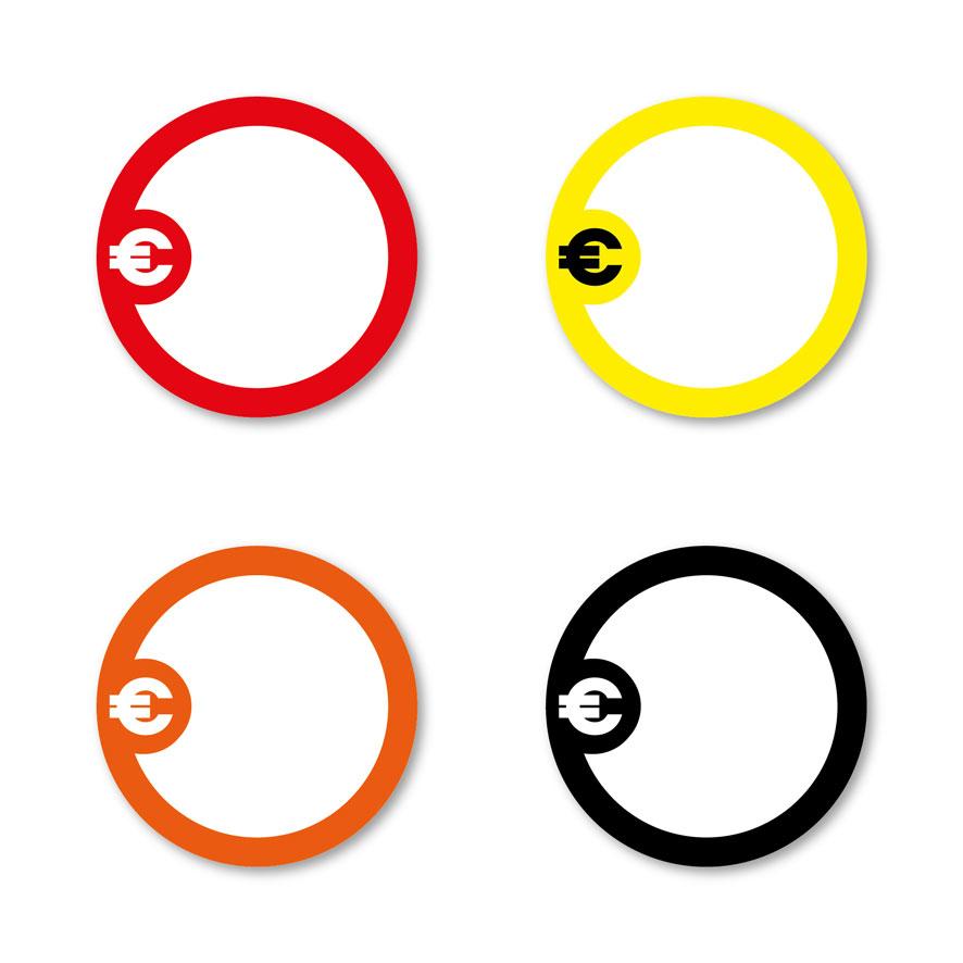 Beschrijfbare stickers 'Euroteken' rood, geel, oranje, zwart rond 30mm witte achtergrond