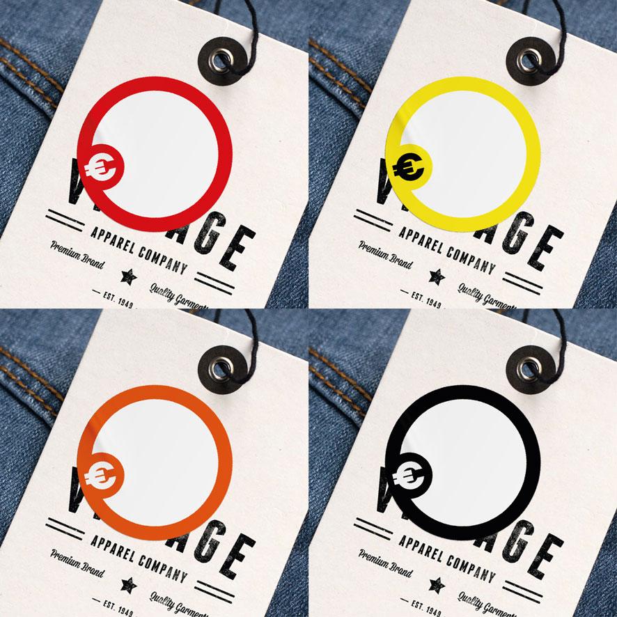 Beschrijfbare stickers 'Euroteken' rood, geel, oranje, zwart rond 30mm kleding hangtag