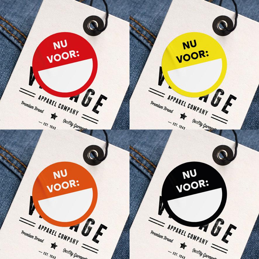 Beschrijfbare stickers 'Nu voor' rood, geel, oranje, zwart rond 30mm kleding hangtag