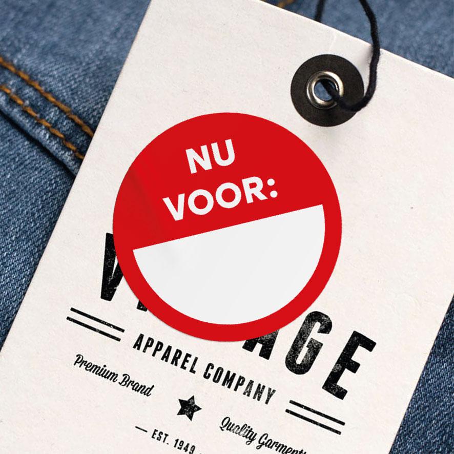 Beschrijfbare sticker 'Nu voor' rood rond 30mm kleding hangtag