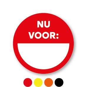 Beschrijfbare stickers 'Nu voor' rond 30mm