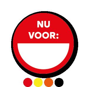 Beschrijfbare stickers 'Nu voor' oranje-wit rond 30mm