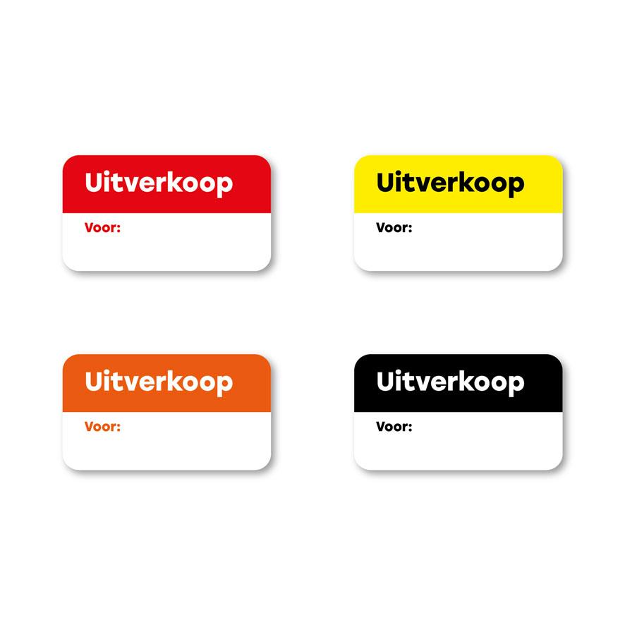 Beschrijfbare 'Uitverkoop' stickers rood, geel, oranje, zwart rechthoek 38x21mm witte achtergrond